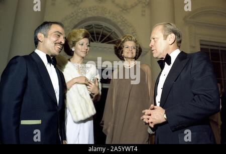 Photograph of President Gerald Ford, First Lady Betty Ford with Queen Alia-al-Hussein and King Hussein of Jordan. Dated 1976