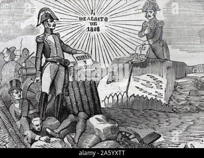 Engraving depicting the heroism of José de Palafox y Melci, Duke of Saragossa (1780-1847) an Aragonese general who fought in the Peninsular War. Dated 19th Century - Stock Photo