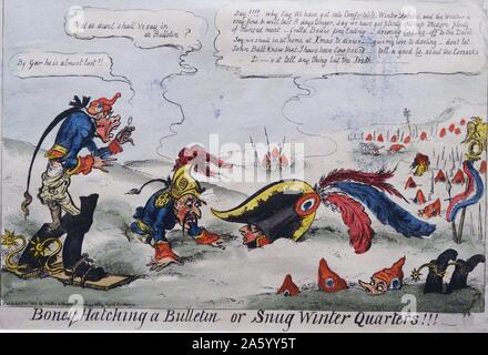 Hand-coloured etching titled 'Boney Hatching a Bulletin or Snug Winter Quarters' by George Cruikshank (1792-1878) British caricaturist and book illustrator. Dated 1812 - Stock Photo