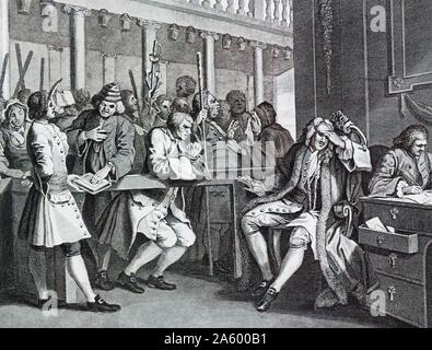 The Industrious 'Prentice Alderman of London, by William Hogarth (1697 – 1764). English painter, printmaker, pictorial satirist. Plate 10 The Industrious 'Prentice Alderman of London, the Idle one brought before him & Impeached by his Accomplice 1747 - Stock Photo