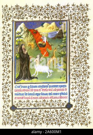 Illumination depicting the Story of Saints Anthony and Paul the Hermit from the Belles Heures of Jean de France, Duc de Berry (The Beautiful Hours) an early 15th-century illuminated manuscript book of hours. Dated 15th Century - Stock Photo