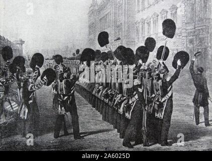 Scots Guards cheer the Queen of Great Britain, Victoria as they leave for the Crimean war 1854 - Stock Photo