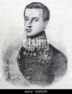 Charles Albert. He succeeded his father as King of Sardinia and pursued a policy of moderation despite declaring war against Austria in 1848. He abdicated the following year. - Stock Photo