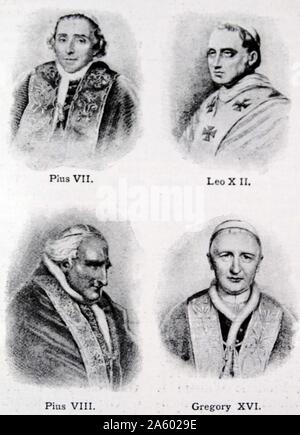 Pius VII, Leo XII, Pius VIII and Gregory XVI - Nineteenth century popes from 1800 to 1846. - Stock Photo