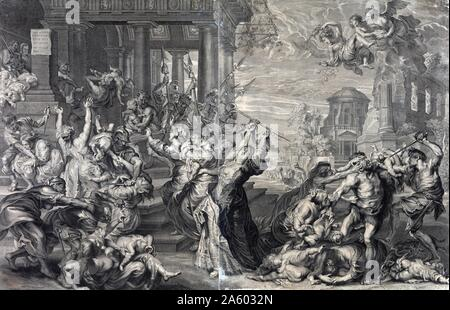 Print showing the massacre of the innocents ordered by Herod, from a 17th century perspective by Peter Paul Rubens. Print, engraving, shows the massacre of the innocents ordered by Herod, from a 17th century perspective. - Stock Photo