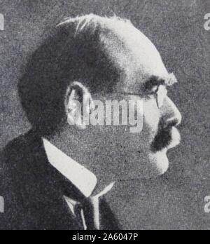 Photographic portrait of Joseph Rudyard Kipling (1865-1936) an English journalist, short-story writer, poet, and novelist. Dated 20th Century - Stock Photo