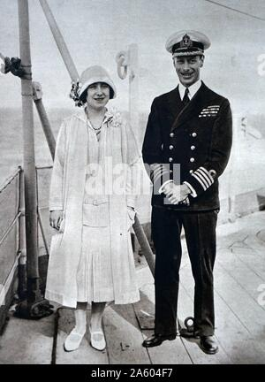 Photograph of Prince Albert Frederick Arthur George (1895-1952) and Lady Elizabeth (1900-2002) aboard the H.M.S. Renown. Dated 20th Century