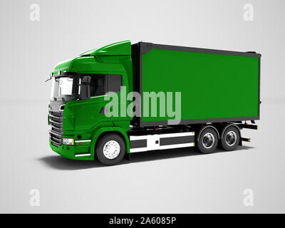 Modern green truck for transportation of goods around the city 3d render on gray background with shadow - Stock Photo