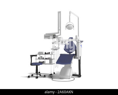Modern concept of dentist with blue dental chair with manual light and various drills to identify tooth 3d render on white background with shadow - Stock Photo