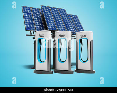 Concept green electro refill with solar panels 3d render on blue background with shadow - Stock Photo