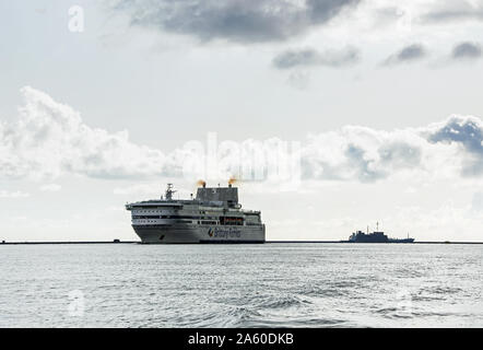 Pont Aven a Brittany Ferries vessel arriving in Plymouth Sound from Europe. The company are on a Brexit stand by in case of a no deal Brexit. - Stock Photo
