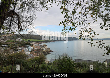 Kingsand and Cawsand as seen from the path when approaching from Mount Edgcumbe Park - Stock Photo