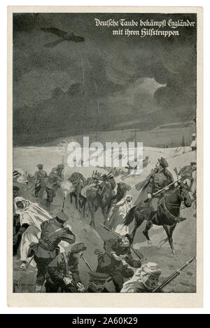 German historical postcard: Taube aeroplane over the allied forces in the middle Eastern theater of operations. The British and their Arab allies, wwi - Stock Photo