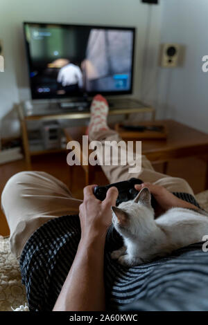 Man playing video game with kitten on his lap