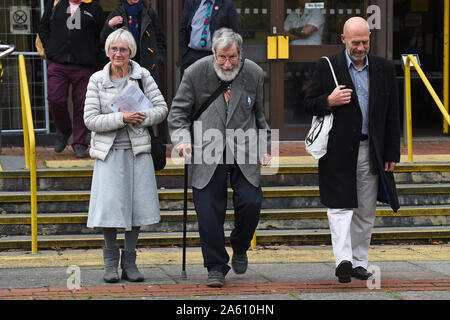 (left to right) Extinction Rebellion activists Ursula Pethick, 83, John Alexander Lynes, 91, and John Halladay, 61, leave Folkestone Magistrates Court in Kent, following a blockage of the port of Dover last month.