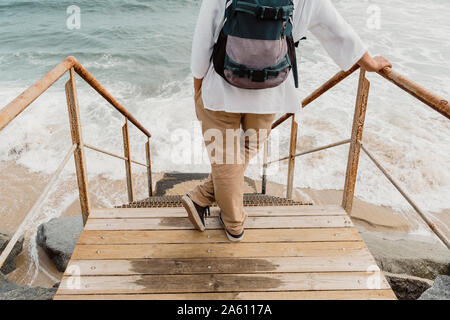 Rear view of traveller standing on wooden boardwalk - Stock Photo