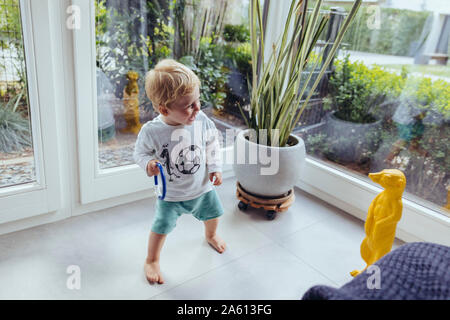 Little boy having fun with a plastic meerkat