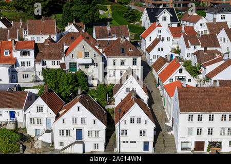 Elevated view, old town, cobbled streets, white wooden houses, Summer, Gamle Stavanger, Rogaland, Norway, Scandinavia, Europe - Stock Photo