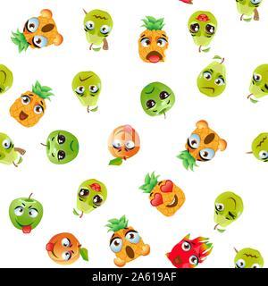 Cute seamless pattern with cartoon emoji fruits - Stock Photo