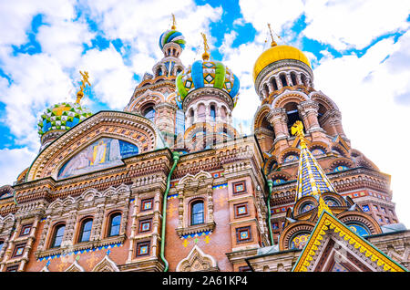 Detail of facade of the beautiful Church of the Savior on Blood, St. Petersburg, Russia. Colorful richly decorated facade and onion domes. One of major Russian tourist attractions. Orthodox church. - Stock Photo