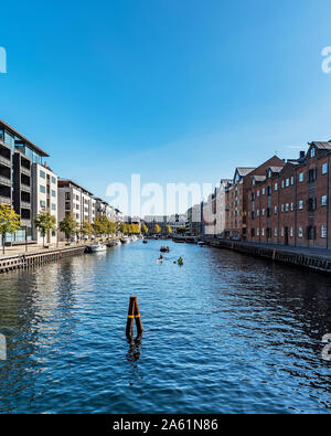COPENHAGEN, DENMARK - SEPTEMBER 21, 2019: A typical scene from one of the canals in the city. - Stock Photo