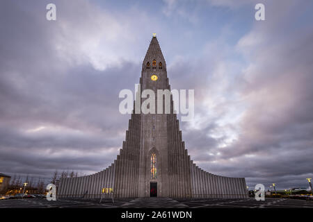 Mountain shaped church in Iceland - Stock Photo