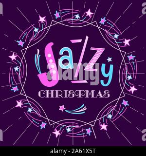Jazzy Christmas holiday music fest hand drawn flat vector. Christmas Jazz fancy lettering design element. Winter season holidays musical festival even - Stock Photo