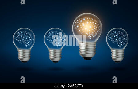 different Light bulb idea Many bulbs are arranged in a row and one of them is illuminated. Concept idea - Stock Photo