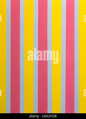 Bright rough wall painted in stripes. Striped seamless pattern with vertical stripes of pink, gray and yellow. - Stock Photo