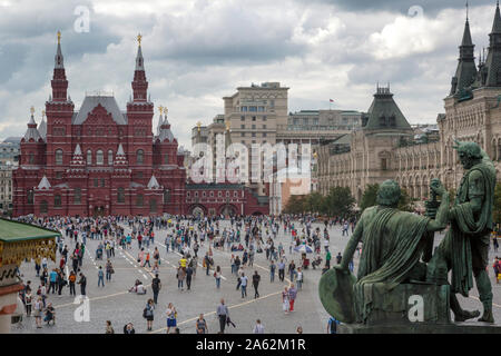 aerial view of Red Square and he State Historical Museum of Russia in the center of Moscow city, Russia - Stock Photo