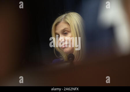 Washington, District of Columbia, USA. 23rd Oct, 2019. United States Representative Carolyn Maloney (Democrat of New York) speaks during the U.S. House Committee on Financial Services hearing with Facebook CEO Mark Zuckerberg, as he testifies regarding Facebook's new cryptocurrency on Capitol Hill in Washington, DC, U.S. on October 23, 2019. Credit: Stefani Reynolds/CNP/ZUMA Wire/Alamy Live News - Stock Photo