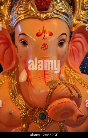 Mumbai, Maharashtra, India, Southeast Asia : Workshop for making Huge idols of lord Ganesh elephant-headed Hindu god Ganesha for Ganpati festival. - Stock Photo