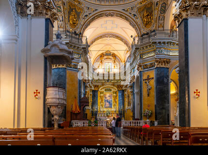 One of the 10 interior chapels inside the baroque Sainte Reparate Cathedral, the Cathedral of Nice, France. - Stock Photo