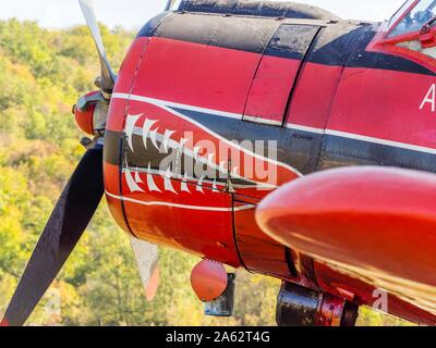 Antonov (PZL-Mielec) An-2R - Air-Tractor 9A-DAM on airport Grobnik October 2019 just after participating in filming movie series 'Strike back' - Stock Photo