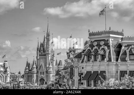 Orlando, Florida. May 10, 2019. Top view of Main Street and Cinderella Castle in Magic Kingdom at Walt Disney World - Stock Photo