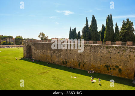 High angle view of the famous Piazza dei Miracoli in Pisa from the elevated walkway on the ancient city walls in a sunny summer day, Tuscany, Italy Stock Photo