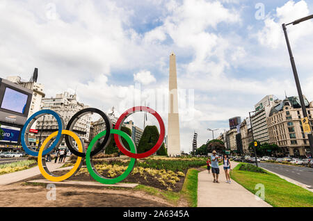 Buenos Aires, Argentina - February 9, 2018: Rings for 2018 Summer Youth Olympics - Stock Photo