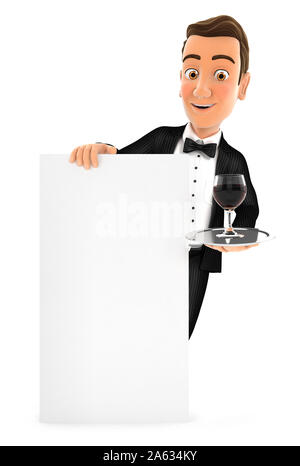 3d waiter standing behind vertical board - Stock Photo