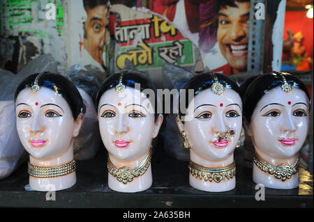 Mumbai, Maharashtra, India, Southeast Asia : Beautiful idols of Gauri Pupa is celebrated during the Ganesh Chaturthi  Ganapati festival. - Stock Photo
