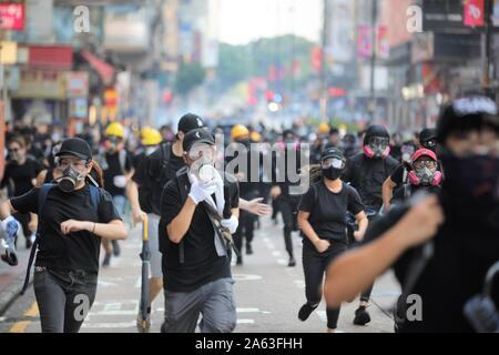 Hong Kong, China. 1st, October 2019. Thousands of pro-democracy protesters march throug several districts Hong Kong at the 70th anniversary of China. - Stock Photo