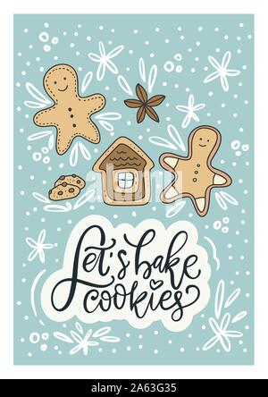 Winter vector card. Hand Drawn Merry Christmas Cartoon Doodle art with lettering quote - let's bake cookies and gingerbread man. - Stock Photo