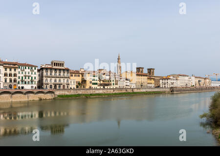 FLORENCE, ITALY - 25, MARCH, 2016: Horizontal picture of beautiful Arno River, a landmark in Florence, Italy - Stock Photo