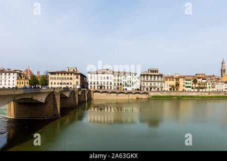 FLORENCE, ITALY - 25, MARCH, 2016: Horizontal picture of beautiful Arno River and old bridge, landmark in Florence, Italy - Stock Photo