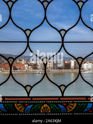 A view over Danube river and houses from Hungarian Parliament Building's window.