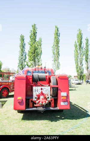 Rear view of a vintage Ford Fire Engine truck.