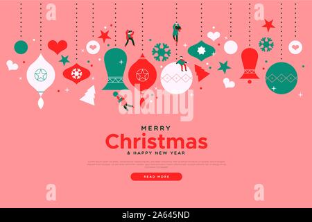 Merry Christmas landing page web design template for festive online event or winter sale. Cute cartoon small people playing on holiday bauble ornament - Stock Photo