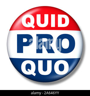 Quid pro quo as a business transaction or unethical political action in giving something for a favour as an exchange or transfer of services. - Stock Photo