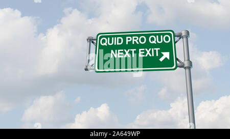 Quid pro quo concept as a business transaction or unethical political action in giving something for a favour as an exchange or transfer of services. - Stock Photo