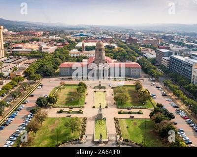 Aerial view, Tshwane city hall, Pretoria, South Africa - Stock Photo