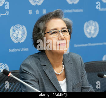 New York, United States. 23rd Oct, 2019. Press briefing by Special Rapporteur on the situation of human rights in Myanmar Yanghee Lee & Chair of the Fact-finding Mission on Myanmar Marzuki Darusman at UN Headquarters (Photo by Lev Radin/Pacific Press) Credit: Pacific Press Agency/Alamy Live News - Stock Photo